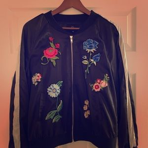Cynthia Rowley Floral Patches Sateen Skater Jacket